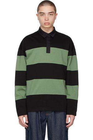JUUN.J Green & Black Stripe Rugby Polo