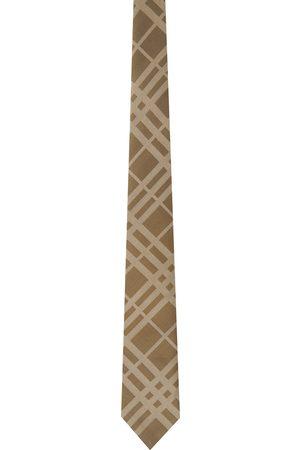 Burberry Beige Silk Check Classic Cut Tie