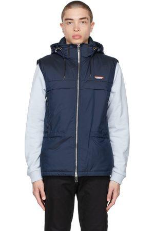 Burberry Navy Detachable Hood Logo Appliqué Vest