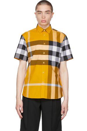 Burberry Yellow Check Stretch Poplin Short Sleeve Shirt