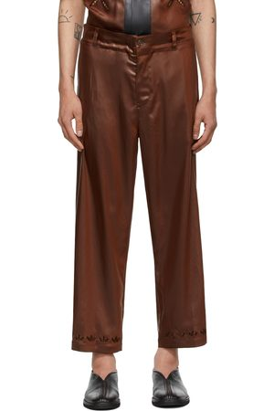 Sasquatchfabrix. Brown Faux-Leather Easy Trousers