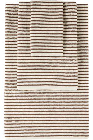 Tekla Off-White & Brown Organic Three-Piece Towel Set