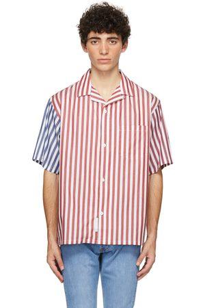 4SDESIGNS White Combo Stripe Wide Camp Short Sleeve Shirt
