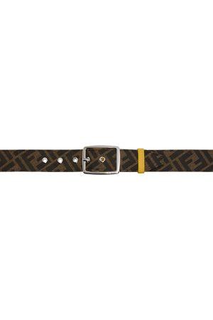 Fendi Reversible Brown & Yellow 'Forever ' Graphic Belt