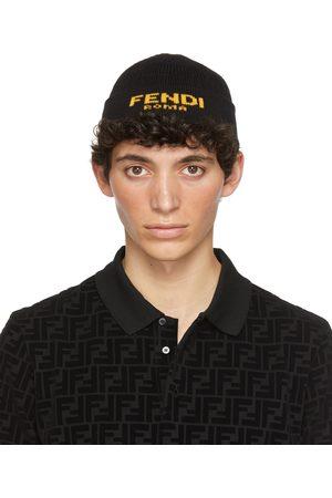 Fendi Black Jacquard Logo Beanie