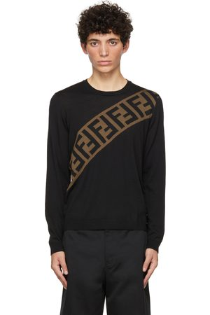 Fendi Black Diagonal 'Forever ' Sweater