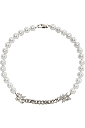 MISBHV Pearl & Curb Link 'M' Necklace