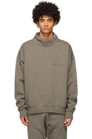 Essentials Taupe Pullover Mock Neck Sweatshirt