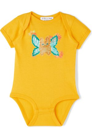 Collina Strada SSENSE Exclusive Baby Yellow Butterfly Printed Bodysuit