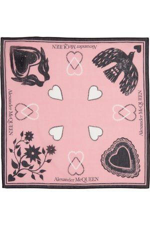 Alexander McQueen Pink Mystic Bandana Scarf