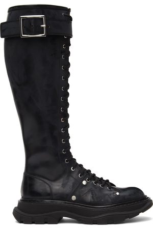 Alexander McQueen Women Lace-up Boots - Black Tread Lace-Up Tall Boots