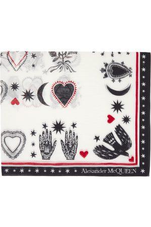 Alexander McQueen White & Red Silk Mystical Scarf