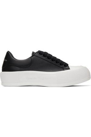 Alexander McQueen Black & White Leather Deck Plimsoll Sneakers