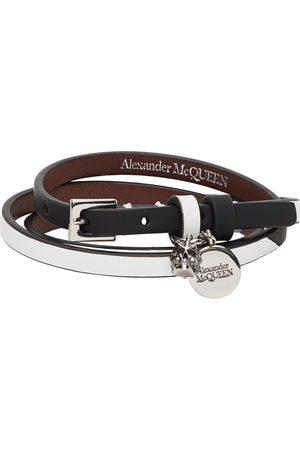 Alexander McQueen Black & White Skull Triple Wrap Bracelet