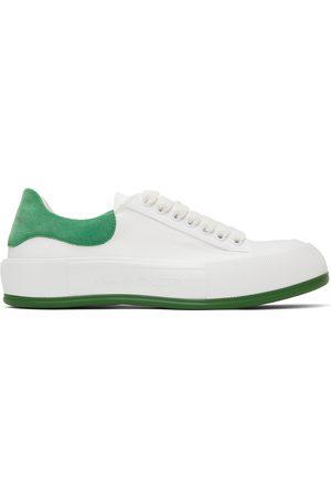 Alexander McQueen White & Green Deck Plimsoll Sneakers