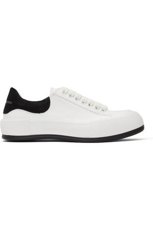 Alexander McQueen White & Black Deck Plimsoll Sneakers