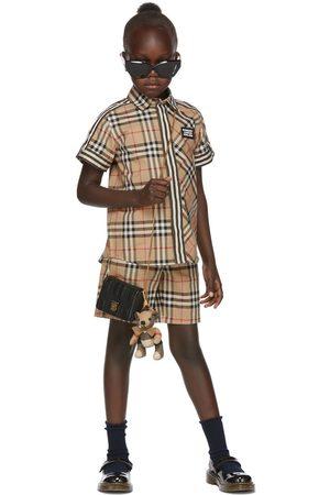 Burberry Kids Beige Vintage Check Patchwork Short Sleeve Shirt