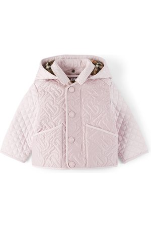 Burberry Baby Pink Detachable Hood Monogram Quilted Jacket