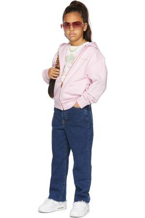 VERSACE Kids Pink GV Signature Zip-Up Hoodie