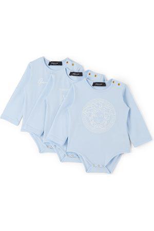 VERSACE Baby Three-Pack Blue Logo Bodysuits