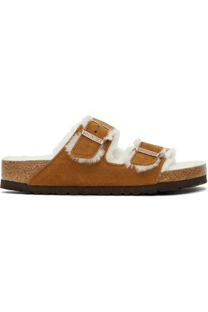 Birkenstock Tan Shearling & Suede Arizona Fur Sandals