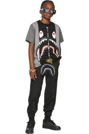 BAPE Kids Black & Grey Color Block Shark T-Shirt