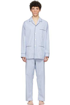 Paul Stuart Blue & White Cotton Narrow Stripe Pyjama Set