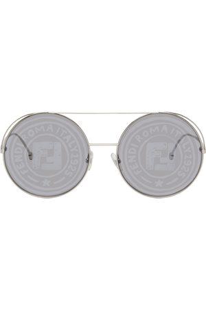 Fendi Silver Round Logo Aviator Sunglasses