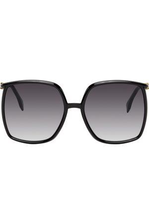 Fendi Black Oversized Thin Square Sunglasses