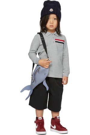 Moncler Kids Grey Side Vents Long Sleeve Little Kids Polo