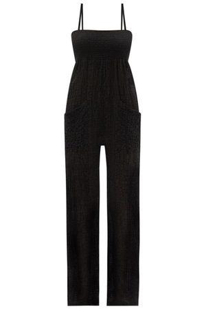 Three Graces London Tallie Shirred Cotton-blend Cloqué Jumpsuit - Womens