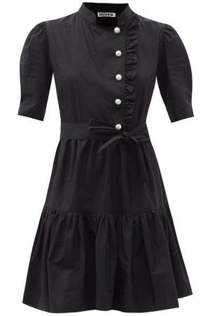 BATSHEVA Sadie Pearl-button Cotton Mini Dress - Womens