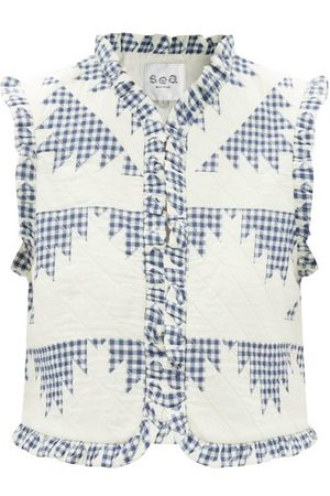 SEA Gloucester Patchwork-gingham Quilted Cotton Gilet - Womens