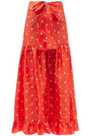 BATSHEVA Natasha Floral-embroidered Silk-taffeta Midi Skirt - Womens - Multi