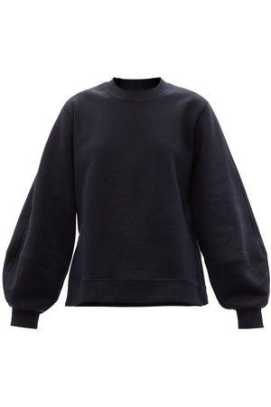 Ganni Isoli Puff-sleeve Cotton-blend Jersey Sweatshirt - Womens - Navy