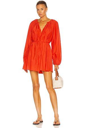 MATTEAU Women Party Dresses - Voluminous Mini Dress in Coral
