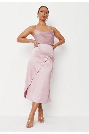 Missguided Tie Side Satin Midi Skirt