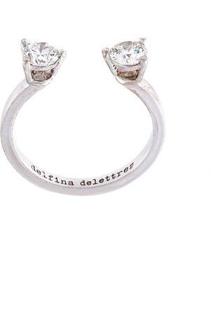 DELFINA DELETTREZ Dots' diamond midi fingertip ring - Metallic