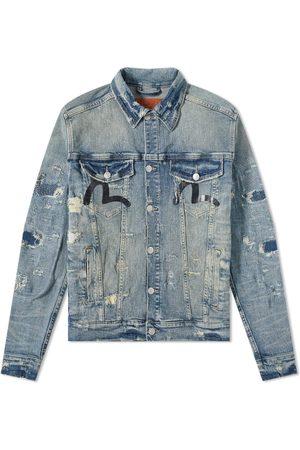 Evisu Men Denim Jackets - Back Logo Denim Jacket