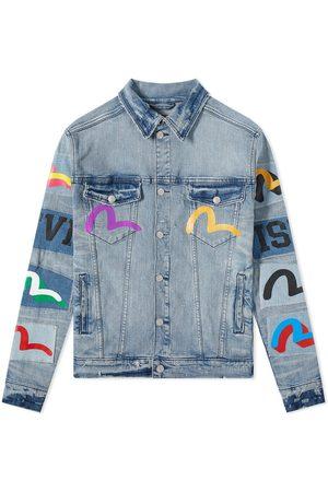 Evisu Men Denim Jackets - Handprinted Patch Denim Jacket