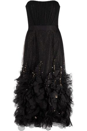 Marchesa Notte Women Strapless Dresses - Appliqué-embellished strapless dress