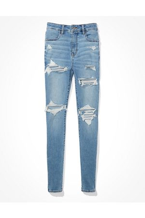 American Eagle Outfitters Next Level Ripped Curvy Super High-Waisted Jegging Women's 2 Regular