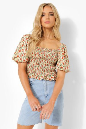 Boohoo Women Camisoles - Womens Floral Puff Sleeve Top - - S