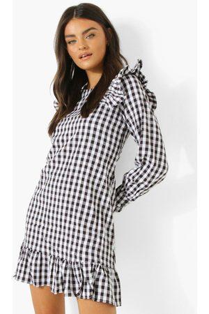 Boohoo Women Dresses - Womens Gingham Ruffle Shoulder Smock Dress - - 4