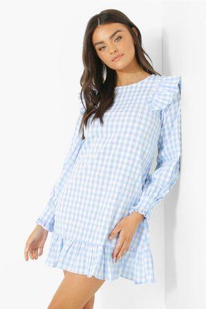 Boohoo Womens Gingham Ruffle Shoulder Smock Dress - - 4