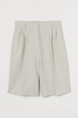 H&M Women Midi Skirts - Knee-length Linen-blend Shorts