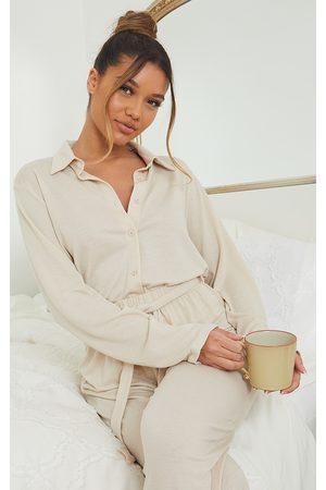 PRETTYLITTLETHING Women Sweats - Stone Crinkle Crepe Mix And Match Oversized Lounge Shirt