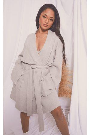 PRETTYLITTLETHING Women Bathrobes - Grey Soft Waffle Dressing Gown