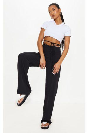 PRETTYLITTLETHING Women Straight Leg Pants - Woven Tie Waist Straight Leg Pants