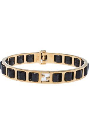 Fendi Leather Interwoven Gold Tone Cuff Bracelet M